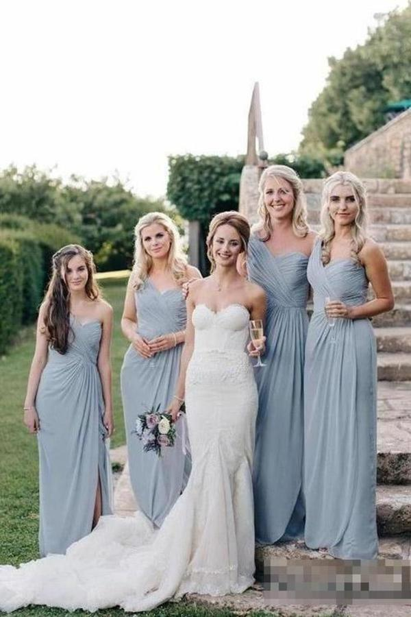 Flowy Long One Shoulder Cheap Chiffon Bridesmaid Dresses PJ6YKGZG