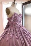 Ball Gown Off The Shoulder Tulle Quinceanera Dress With Lace Appliques Puffy Prom STHP3HM7KB3
