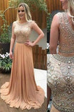 See Through Beaded Long Champagne Scoop Cap Sleeve A-Line Cheap Custom Prom Dresses