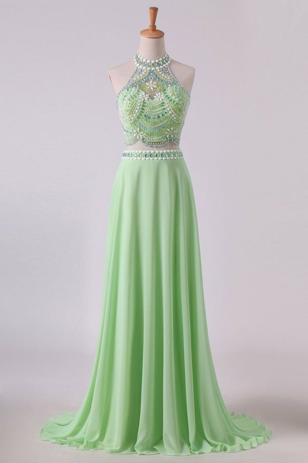 2020 Two Pieces Prom Dresses Halter A Line Chiffon Sweep Train PCBKFD95