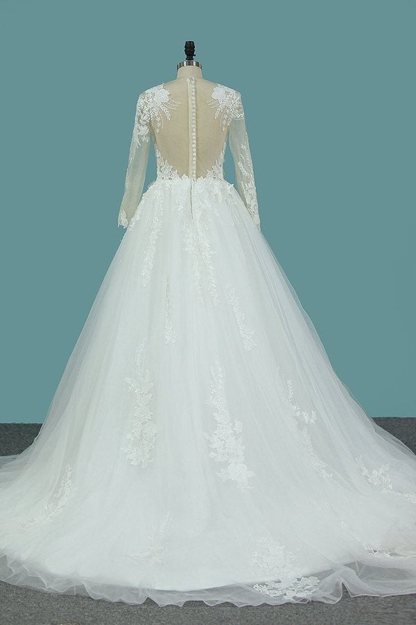 2020 Scoop Long Sleeves Tulle Wedding Dresses With PEAH8YZT