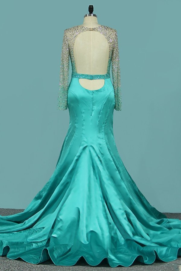 2020 Sexy Mermaid Prom Dresses Scoop Long Sleeves P3LD4Q5N