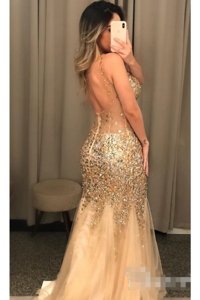 Gold Beaded Glistening Illusion V Neck Party Dress Backless Mermaid Long Prom STHP9TPGCT9