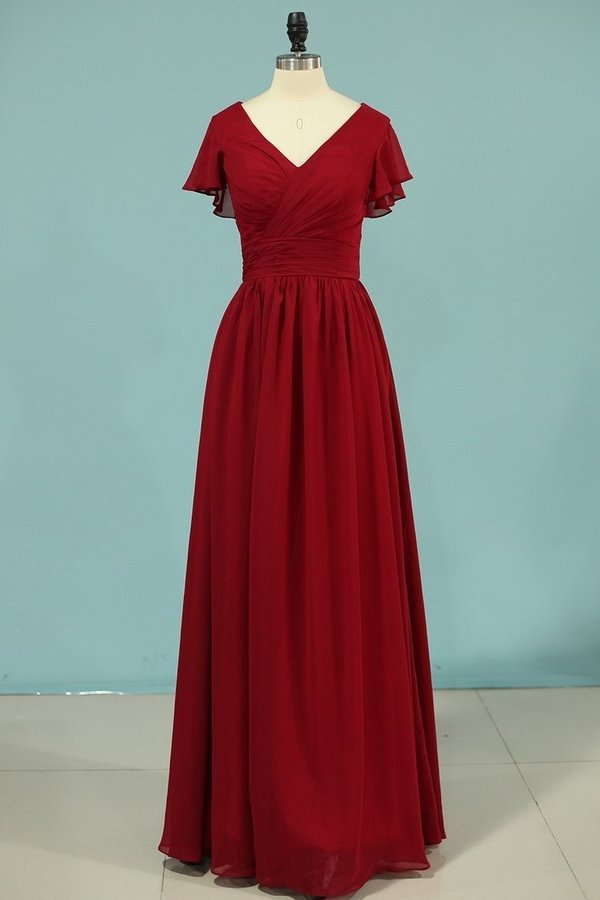 2020 V-Neck A Line Chiffon Bridesmaid Dresses PLJLBY63