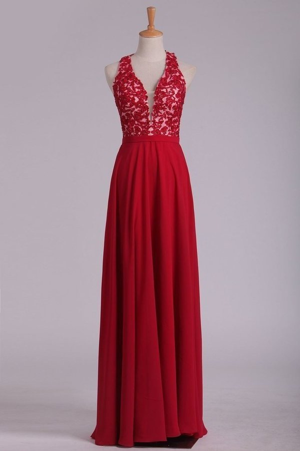 2020 V Neck Prom Dresses A Line Chiffon With Applique And Beads Open Back PGMYP5TH