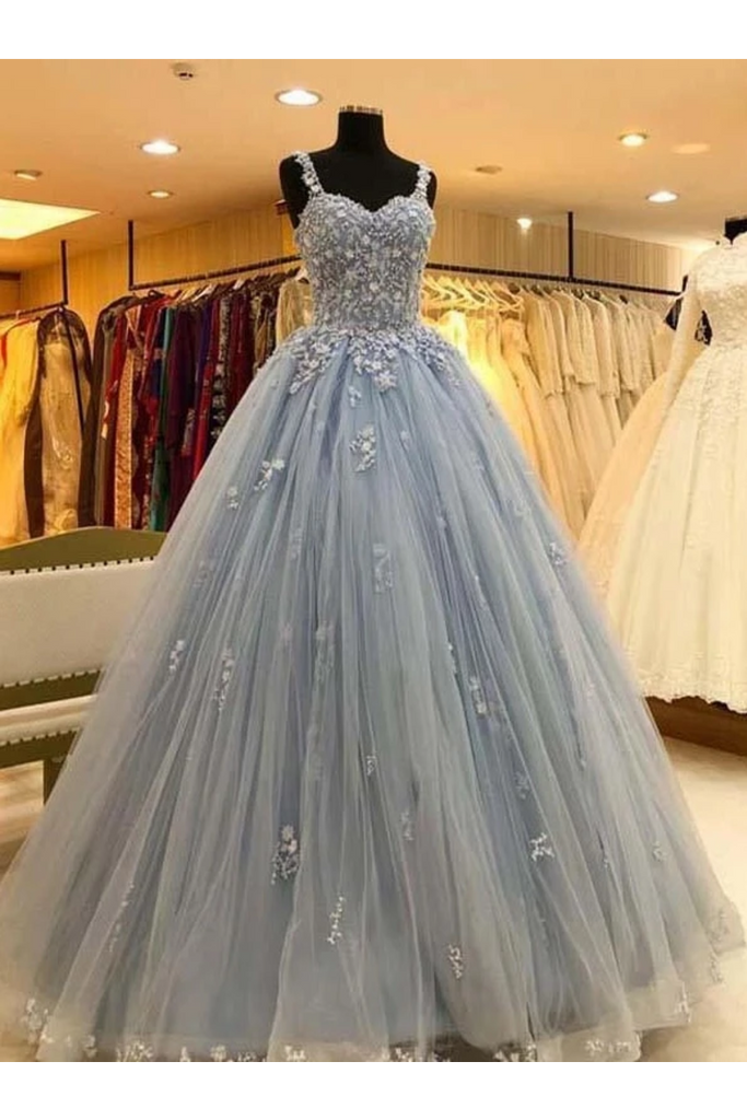 Ball Gown Straps Long Prom Dress Appliques Quinceanera STHPKS9FELB
