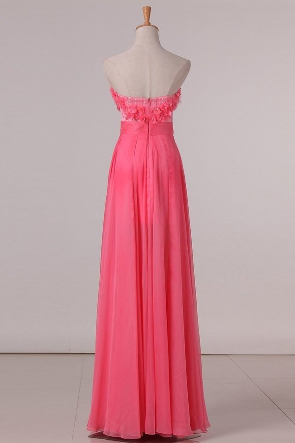 2020 Sweetheart A Line Prom Dresses Chiffon With Beads PKPJ15M8