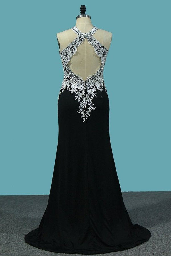 2020 Sexy Open Back Scoop Spandex Prom Dresses With P9ED81P6