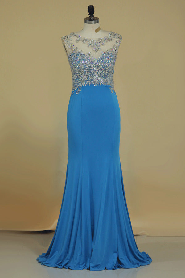 2020 Scoop Mermaid Prom Dresses Beaded Bodice Sweep PSB575RD