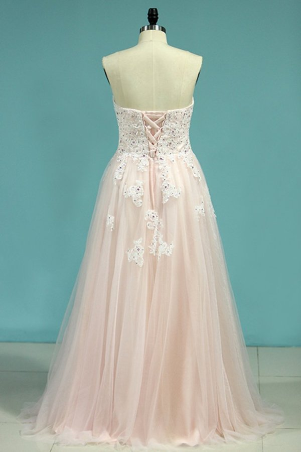 2020 Tulle Prom Dresses Sweetheart With Applique And P21G14LC
