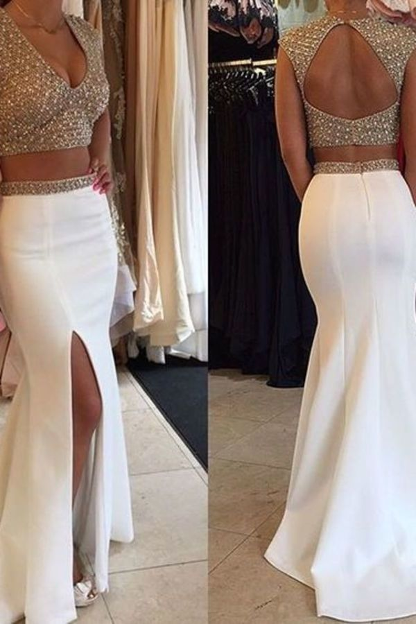 2020 Two-Piece V-Neck Prom Dresses With Beads And Slit Spandex PSN93NNF
