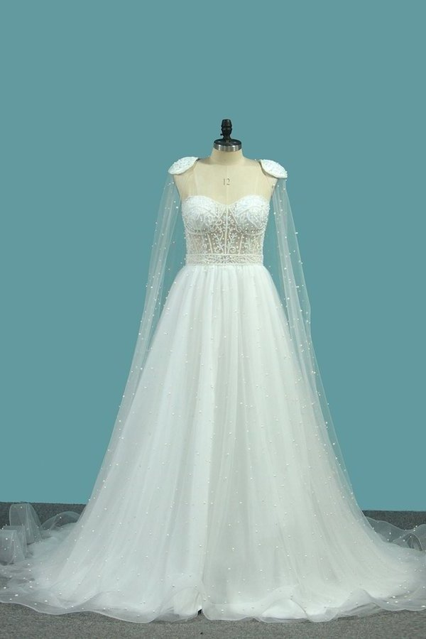 2020 Sweetheart Wedding Dresses A Line Tulle With PXAHYHG2