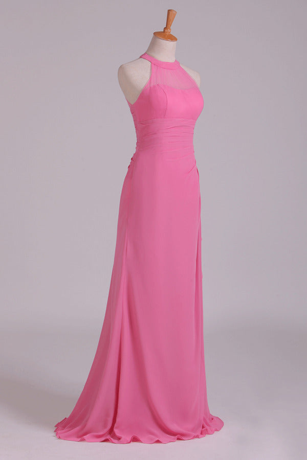 2020 Scoop Sheath Bridesmaid Dress Chiffon With Ruffles PYD7J1HK