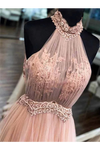 Chic Halter Formal Prom Dress Tulle Appliques A Line Evening STHPYARAC2F