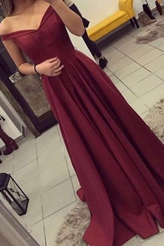 Satin Off the Shoulder A-line Sweep Train Sashes Sweetheart Burgundy Prom Dresses STH13450