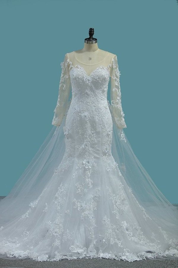2020 Scoop Long Sleeves Mermaid Wedding Dresses With Applique Tulle PD3A6SK8