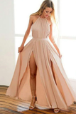 Backless Halter Floor Length Prom Dresses With STHPZ384JG8