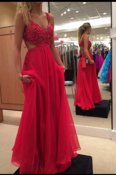 Spaghetti Strap Lace Bodice Red Chiffon Skirt Backless Prom Dress Red Long Formal Gown