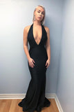 Mermaid Halter Backless Sweep Train Black Prom Dresses with Deep V Neck