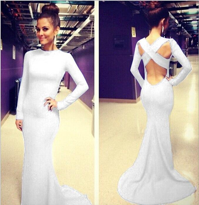 Open Back White Prom Dresses With Long Sleeves Tight Backless Royal Blue Prom Gown