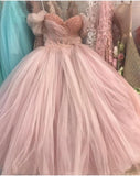 Princess Ball Gown Pink Tulle Off the Shoulder Lace up Homecoming Dresses with Bowknot