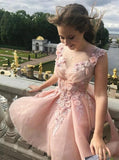 Princess Pearl Pink Tulle A-Line V Neck Floral Applique Short Cocktail Dress Homecoming Dress