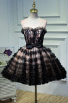 Round Neck Open Back Black and Pink Bowknot Lace up Homecoming Dresses with Tulle