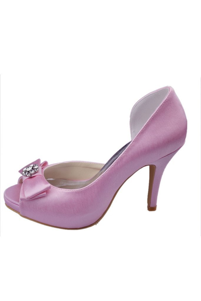 Free Shipping Charming Pink High Heel Shoes With Bow Knot And Beads