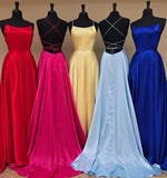 Sexy A line Blue Prom Dresses with High Slit Criss Cross Sleeveless Evening Dresses