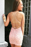 Sexy Sheath Lace Appliques Pink Spaghetti Straps Homecoming Dresses with Above Length