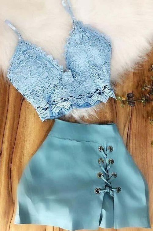 Simple A Line Spaghetti Straps Two Pieces Top Lace V Neck Blue Homecoming Dresses