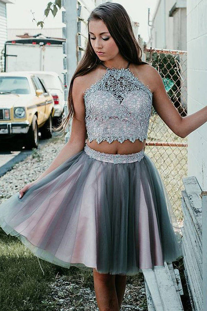 Simple Grey Two Pieces Knee Length Beads Halter Tulle Homecoming Dresses with Appliques