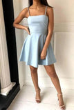 Simple Spaghetti Straps Light Blue Satin Homecoming Dresses Cute Short Prom Dresses