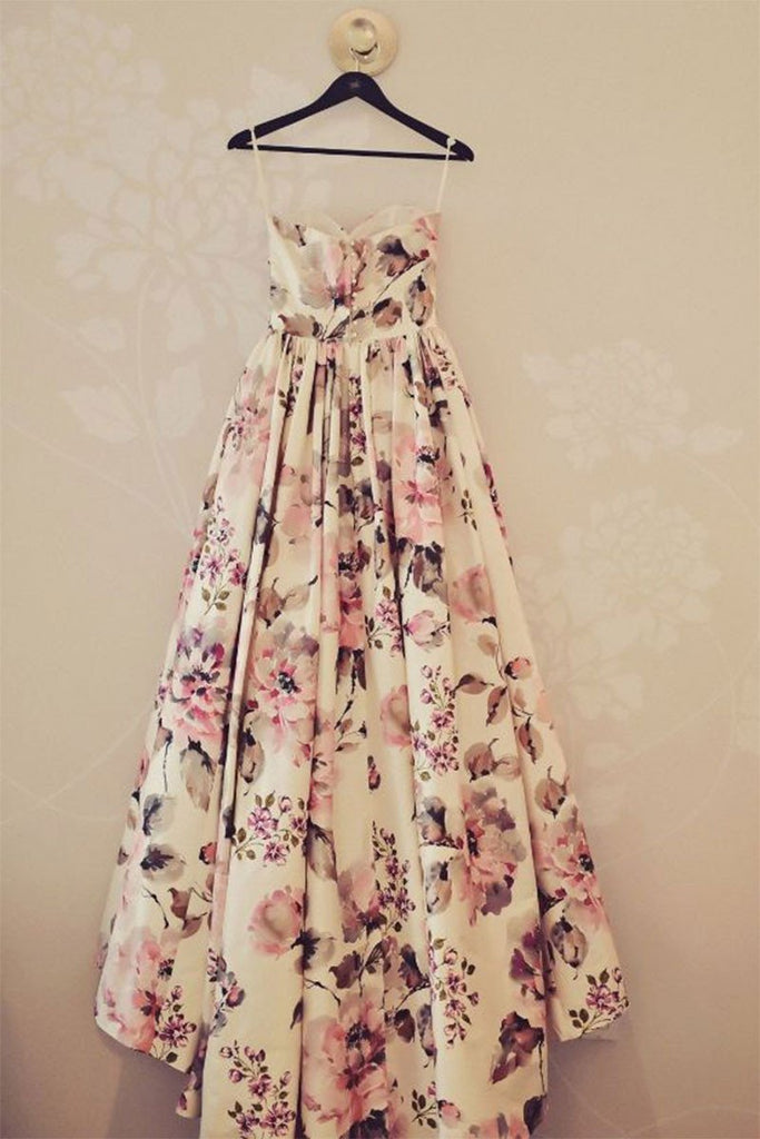 Simple Sweetheart Long Prom Dresses Floral Strapless Evening Dresses