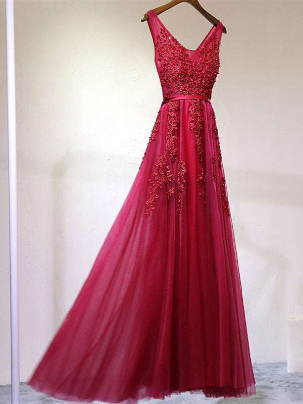 Red Appliques A-Line Floor-Length Scoop Lace up Cap Sleeve Beads Prom Dresses