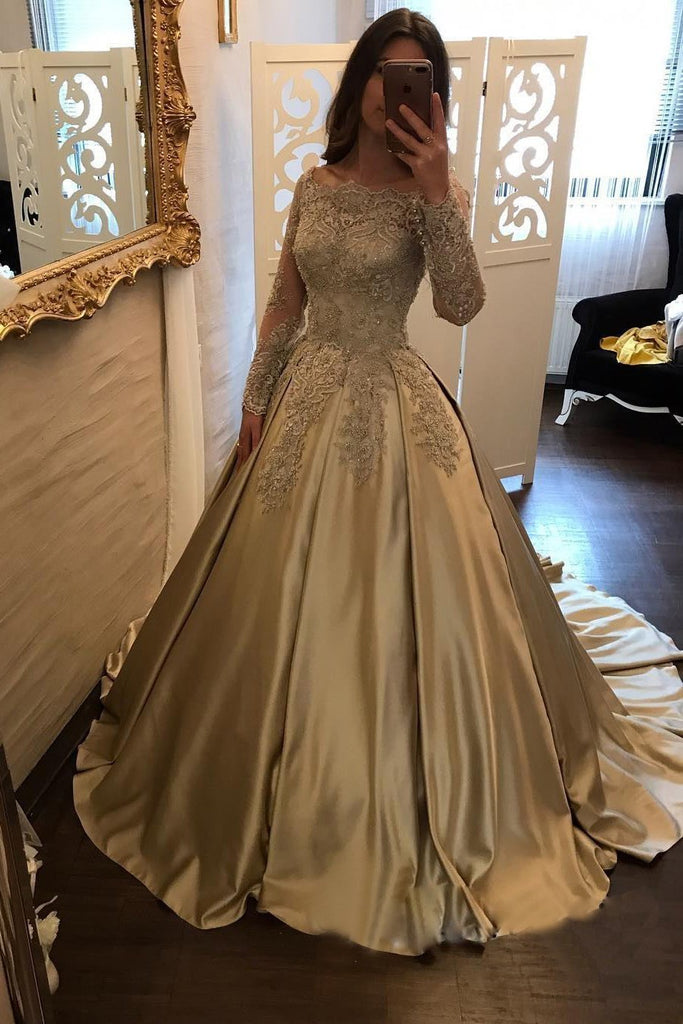 Satin Ball Gown Gold Long Sleeves Scoop Lace Appliques Beads Floor Length Prom Dresses