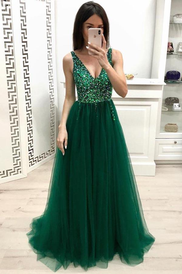 Unique A Line V Neck Beading Prom Dresses Long Tulle Green Evening Dresses