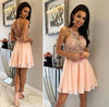 Unique Halter Chiffon Criss Cross Beads Short Sweet 16 Dresses Homecoming Dresses