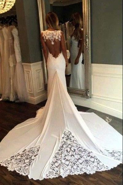 Unique Mermaid Sheer Neck Wedding Dresses with Lace Unique Ivory Bridal Dresses