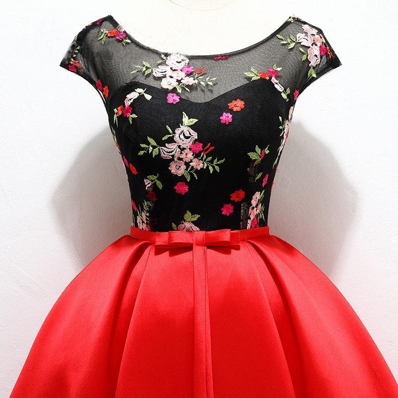 Unique Red Satin Cap Sleeves Scoop Belt Flowers Homecoming Dresses with Lace up