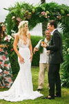 Simple Ivory Lace Country V Neck Mermaid Backless Summer Beach Wedding Dresses