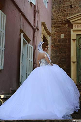White Sheer Long Sleeves Beaded Sweetheart Crystals Ball Gown Corset Tulle Wedding Dresses