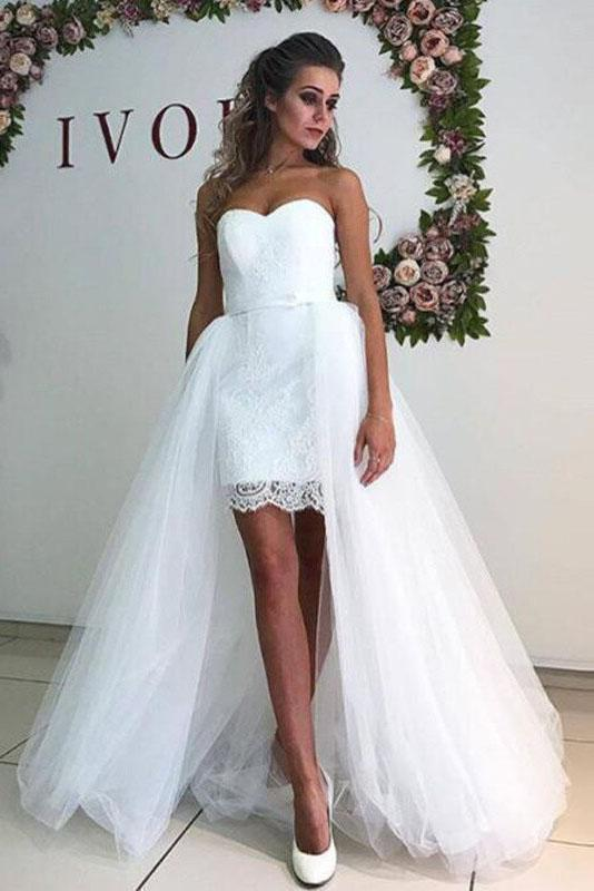 White Tulle Sweetheart Strapless Mermaid Wedding Dresses with Lace Detachable Train