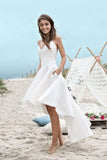 Spaghetti Straps V Neck Long High Low Ivory Homecoming Dress with Pockets