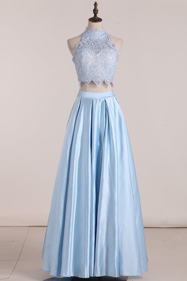 2020 Two Pieces Prom Dresses Satin With Applique Floor Length PGLPDMRY