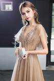 A Line V Neck Short Sleeves Long Tulle Prom Dress Evening Dresses With STHP7MZF43L