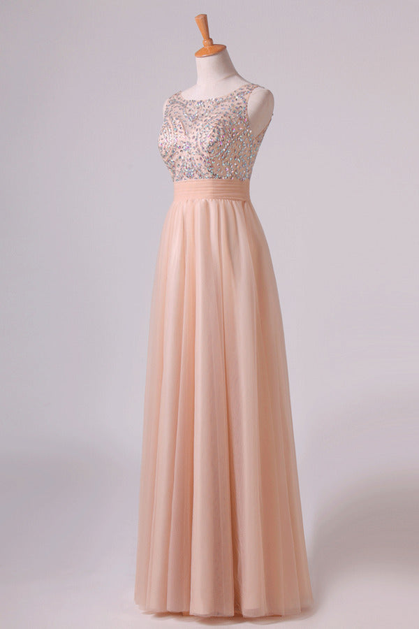 2020 Scoop Prom Dresses A Line Tulle With Beading PP5HYK2K