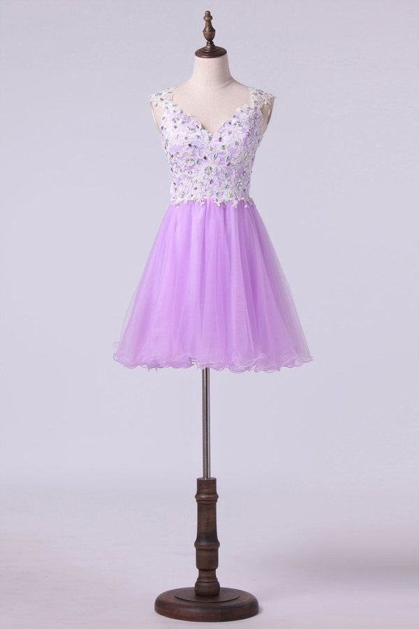 2020 Short/Mini Prom Dress A Line Tulle Skirt With Embellished P9KY8K6N