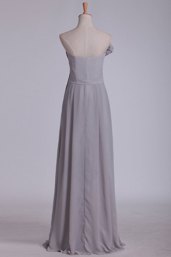 2020 Sheath Bridesmaid Dresses Strapless Chiffon With P3TMRZTN