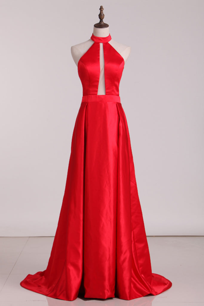 New Arrival Halter A Line Evening Dresses Satin Sweep STHPXRSZSBM